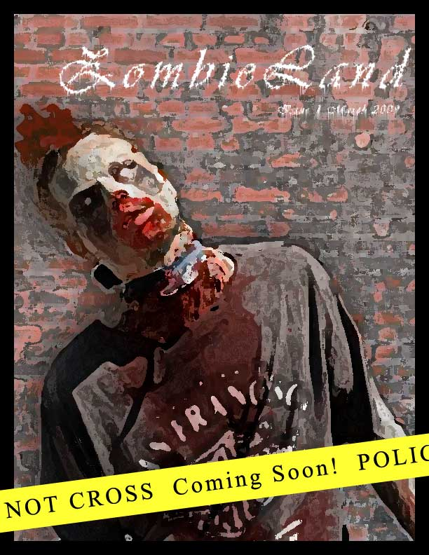 cover page mock up of Zombie Lands Issue 1 - Zombie being shot in the head